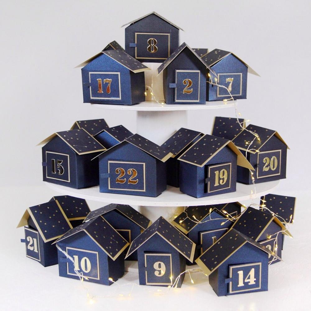 DIY Advent calendar kit Christmas village - navy blue