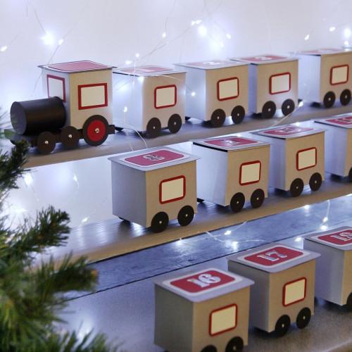 DIY Advent calendar kit train - gray