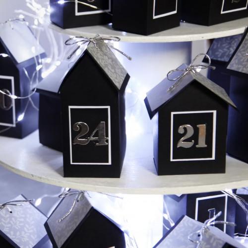 DIY Advent calendar kit Christmas village - black