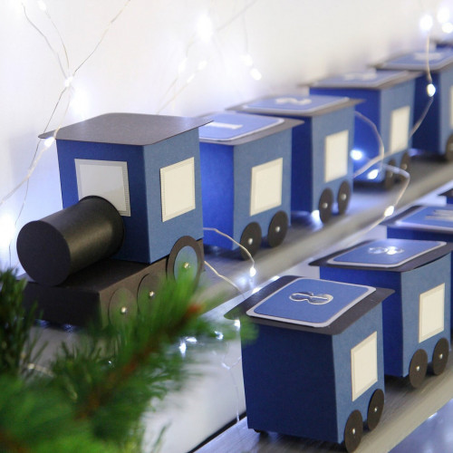 DIY Advent calendar kit Train - blue