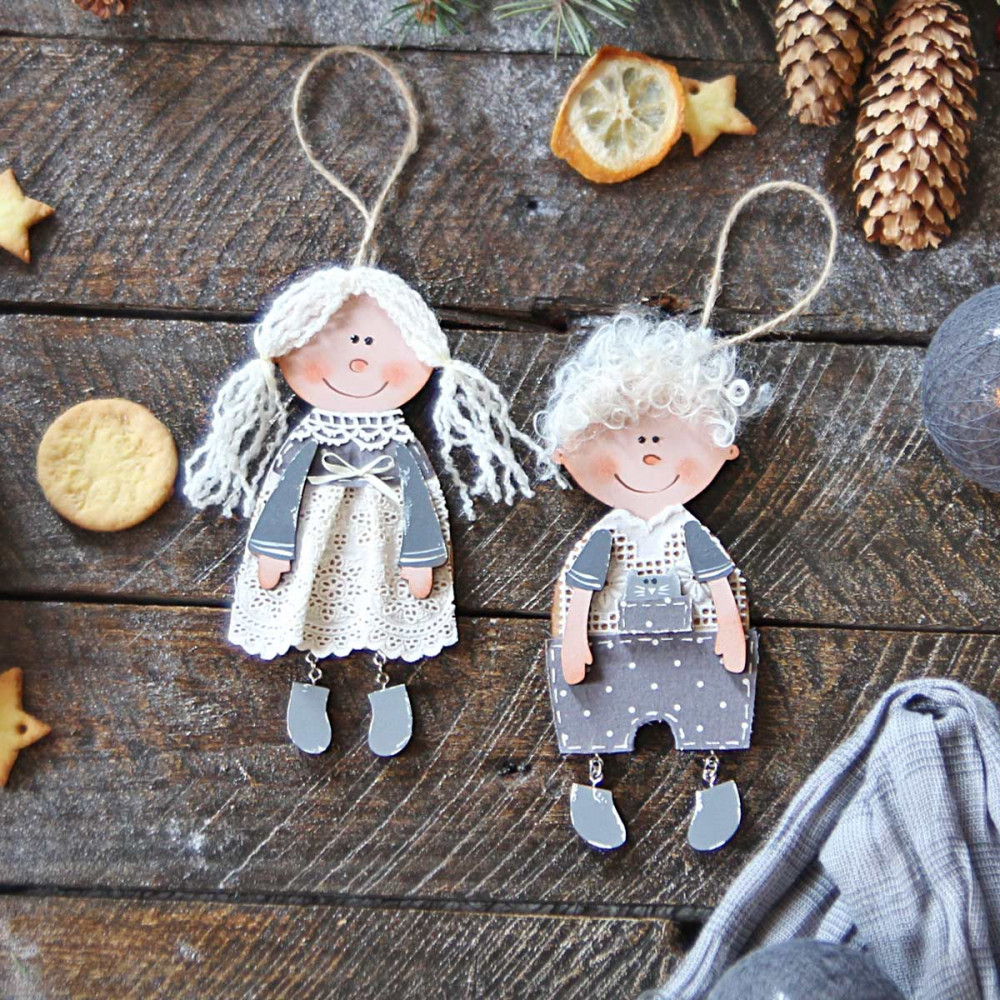 Christmas wooden ornaments - Girl and Boy