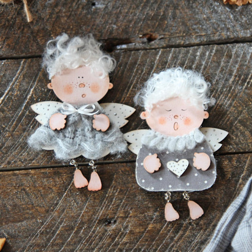 Christmas decorations - 2 wooden angels