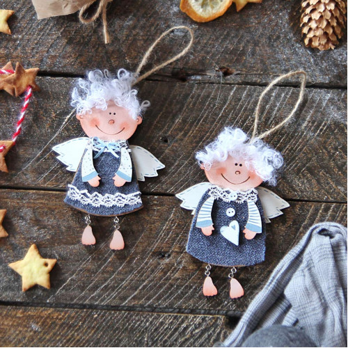 Christmas wooden decorations - wooden angels