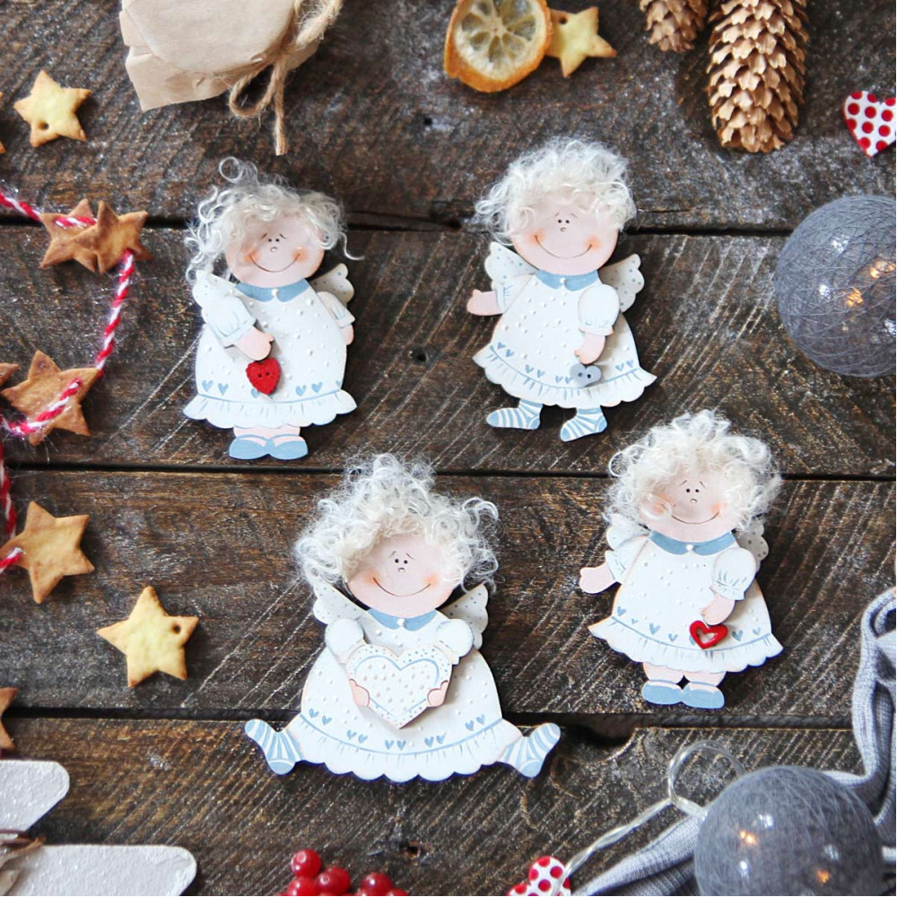 Christmas wooden decorations - pendants Angels