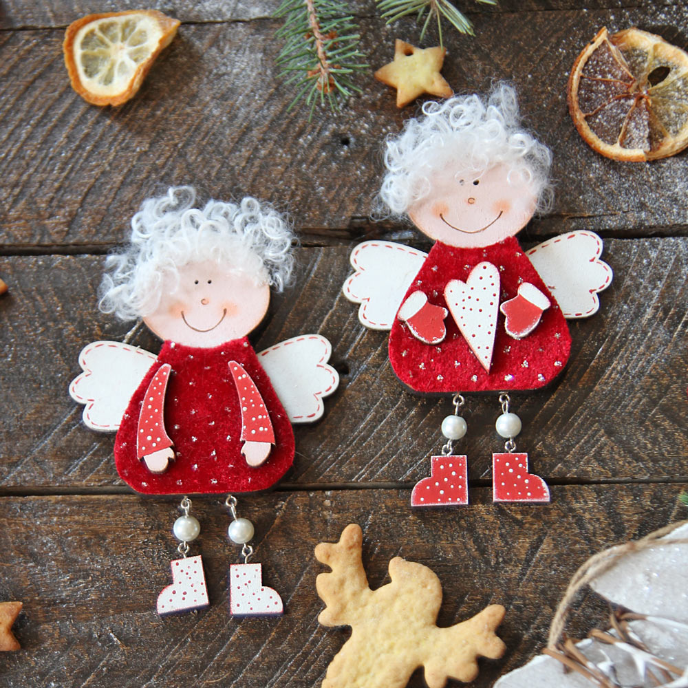Wooden Christmas Ornaments 2 angels