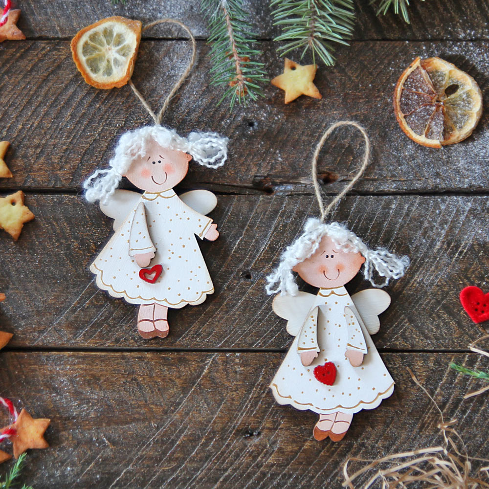 Wooden Christmas Ornaments - 2 white angels