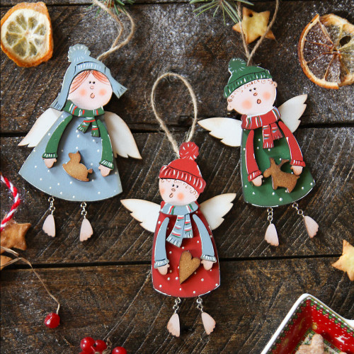 Christmas tree decoration, wooden ornaments - Christmas angels