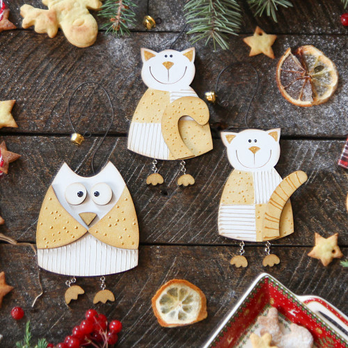 Christmas wooden ornaments - Wooden Animals