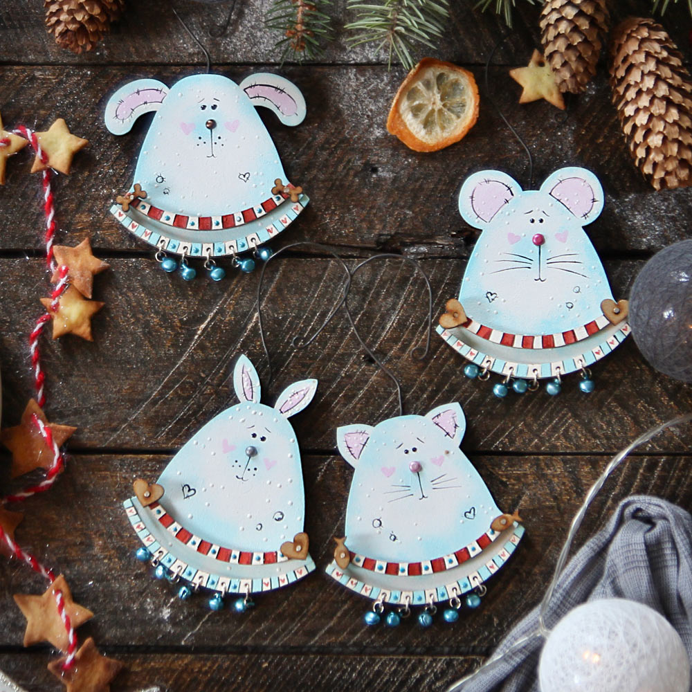 Christmas wooden ornaments - Cute Animals