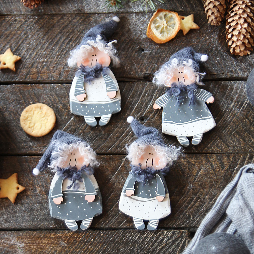 Christmas wooden ornaments - 4 angels