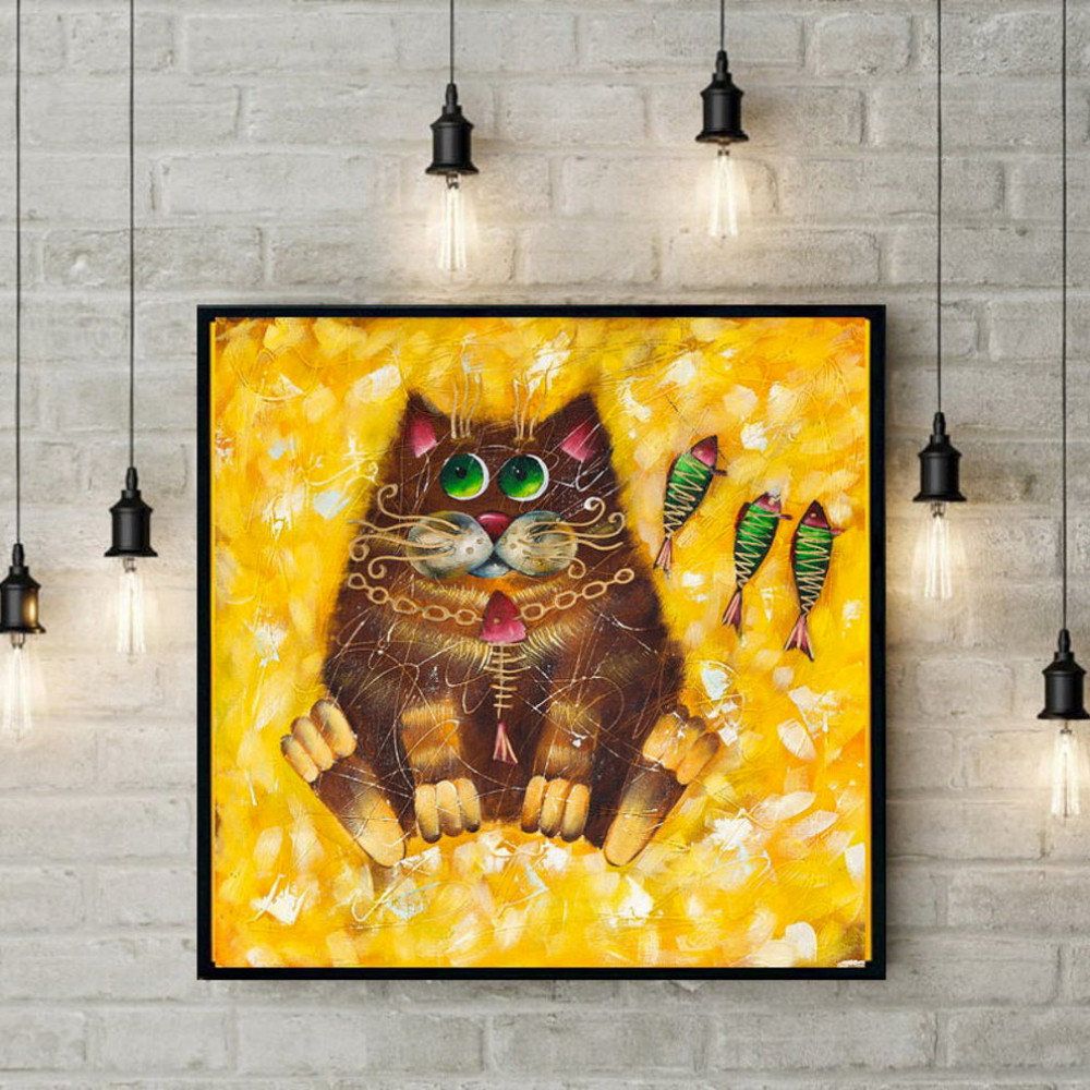 Cat oil painting Kids bedroom painting