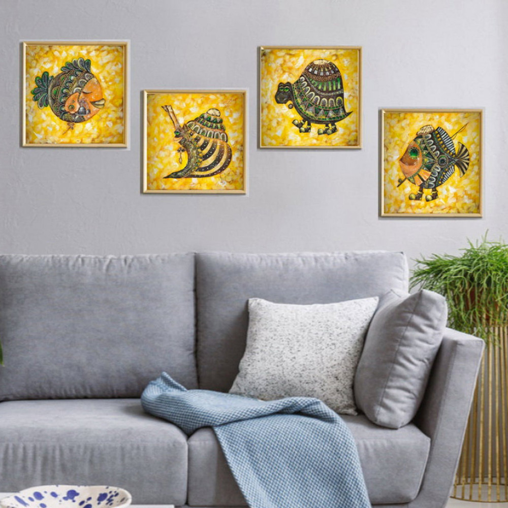 Fish, Snail, Turtle oil Painting on canvas