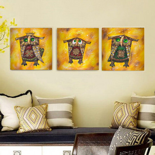 Owl family oil painting