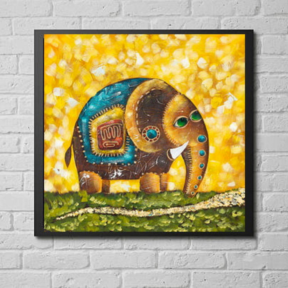 Oil Painting Elephant Lucky