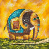 Oil Painting Elephant Lucky - Style 2