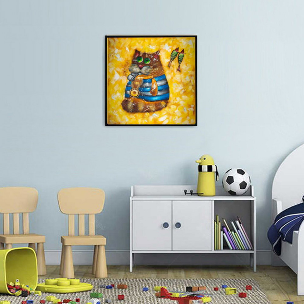 Cat Sailor oil painting Kids bedroom painting