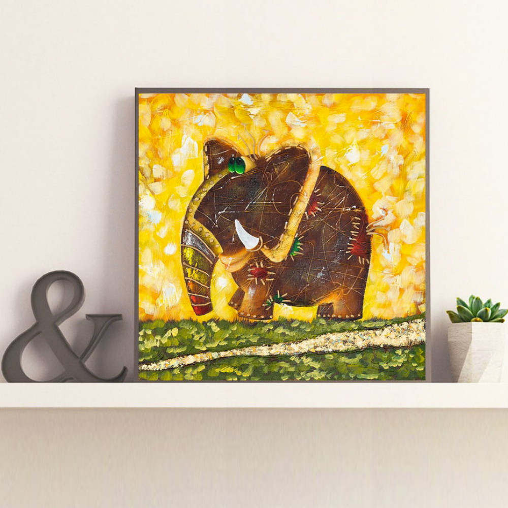 Oil Painting Elephant Rainbow