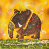 Oil Painting Elephant Rainbow - Style 2